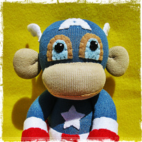 Captain America Monkey Sock Monkey Handmade Doll