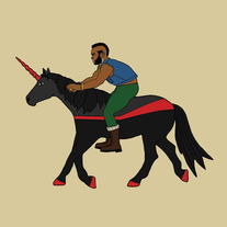 Mr T riding unicorn, 8x8 print
