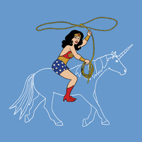 Wonder Woman riding an invisible unicorn, 8x8 print