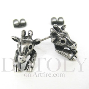 Miniature Giraffe Animal Stud Earrings in Silver