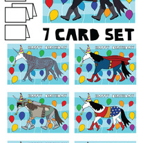 Unicorn dressed as Happy Bithday 7 card set