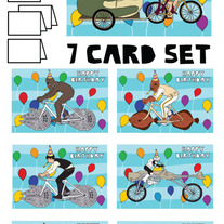 Star wars on bikes Happy Birthday 7 card set