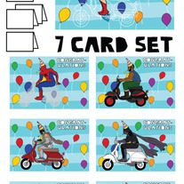 On Vespas Congrats 7 card set