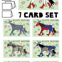 Unicorns Easter 7 card set