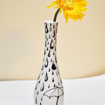 Hand Painted Off-White Porcelain Vintage Vase, Rain Drops & Umbrella Illustration