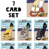Cat dressed as Star Wars Thanksgiving 7 card set