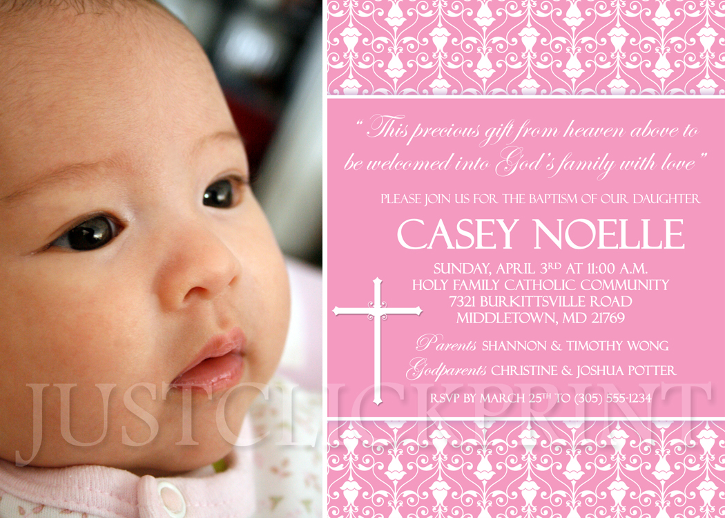 Damask Baptism Christening Dedication Photo Invitation Pink Purple