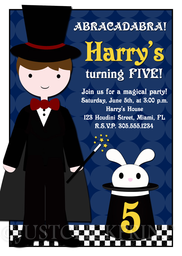 Abracadabra Magic Show Birthday Party Invitation Any Color – Magic Party Invitations