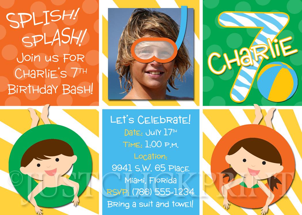 splish splash birthday bash pool party photo invitation printable