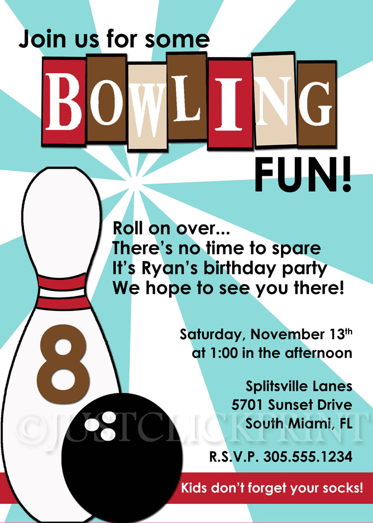 Retro Bowling Fun Birthday Invitation Blue Brown Printable Just