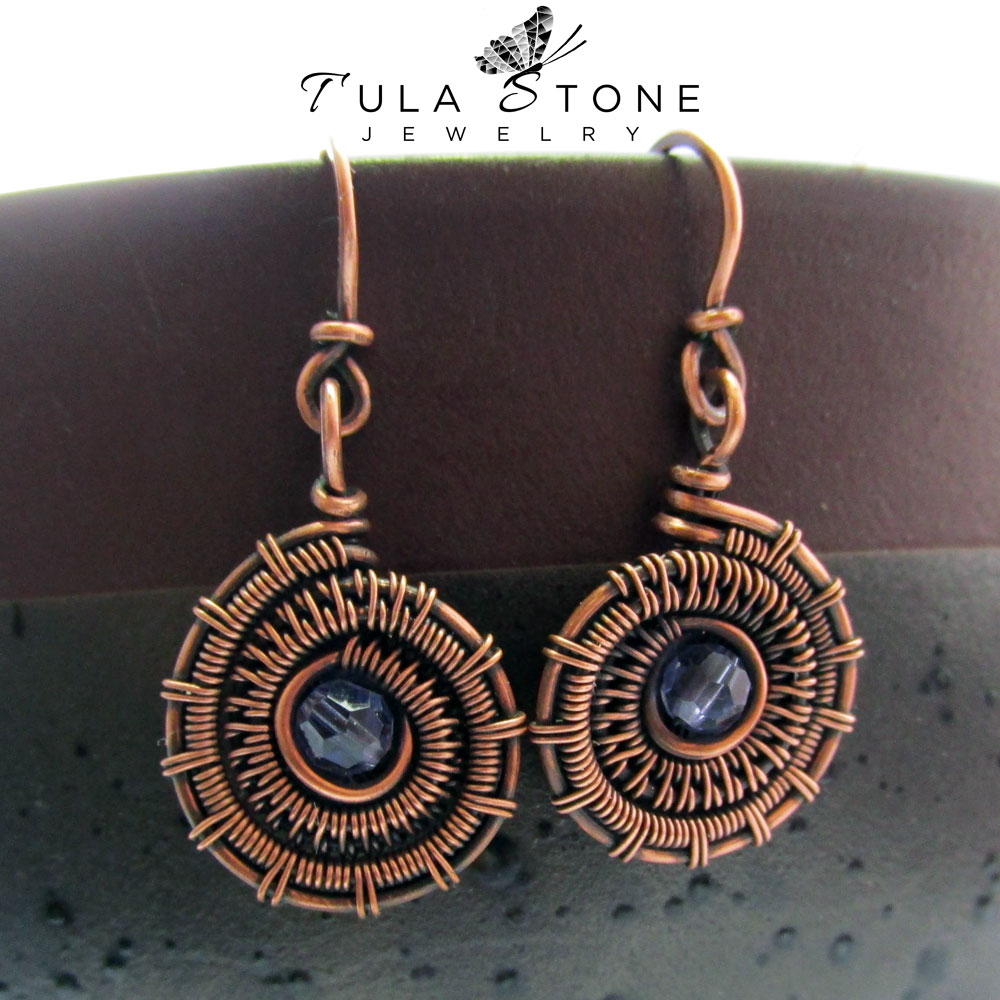 Copper Woven Wire Ammonite Earrings with Amethyst Swarovski Crystal ...
