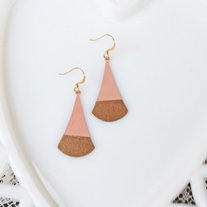 Blush Pink Color Dipped Brass Dangle Earrings