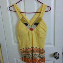 Self Esteem Yellow Beaded Tribal Top XL