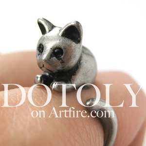 Miniature Kitty Cat Animal Wrap Ring in Silver - Sizes 5 to 9 available