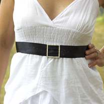 Bridal Sash with Rhinestone Buckle  - Thumbnail 1