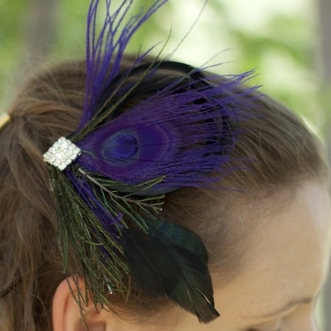 Violet Peacock Fascinator with Rhinestone Center