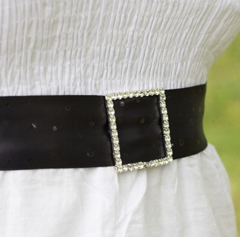 Bridal Sash with Rhinestone Buckle