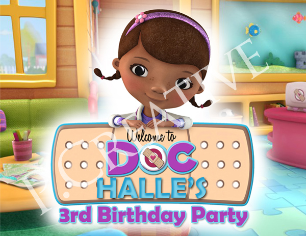 This is an image of Stupendous Doc Mcstuffins Party Printables