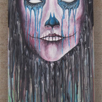 SOLD OUT - La Tristeza (acrylic painting on skateboard deck)