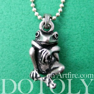 Baby Frog Froggy Animal Charm Necklace in Silver
