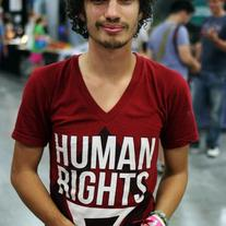 """Human Rights For All"" Cardinal Red V-Neck"