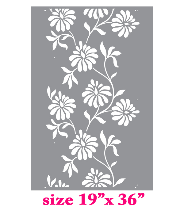 Stencil boss leaf and flower allover pattern wall - Flower stencils for walls ...