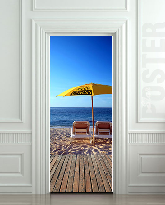 Wall door sticker chaise longue beach mural decole film for Beach wall mural sticker