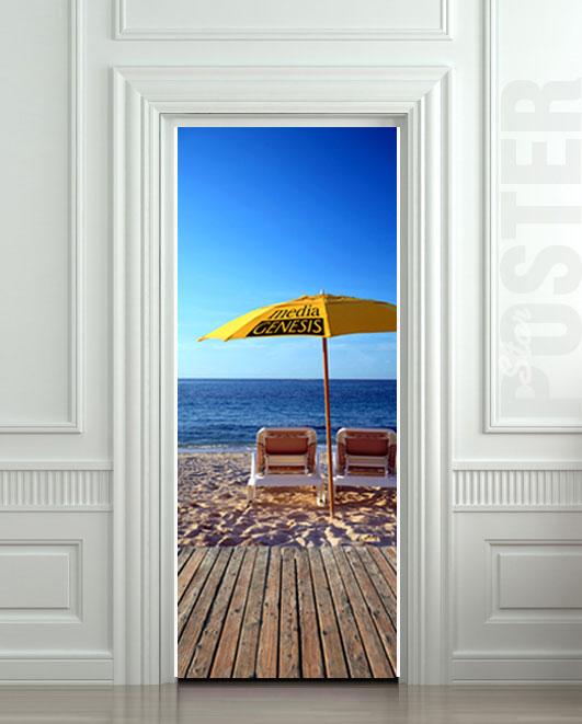 Wall door sticker chaise longue beach mural decole film for Beach wall mural sticker