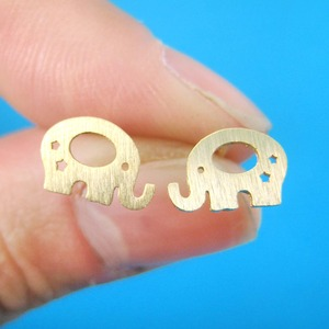 Baby Elephant Silhouette Shaped Stud Earrings in Gold With Star Cut Outs