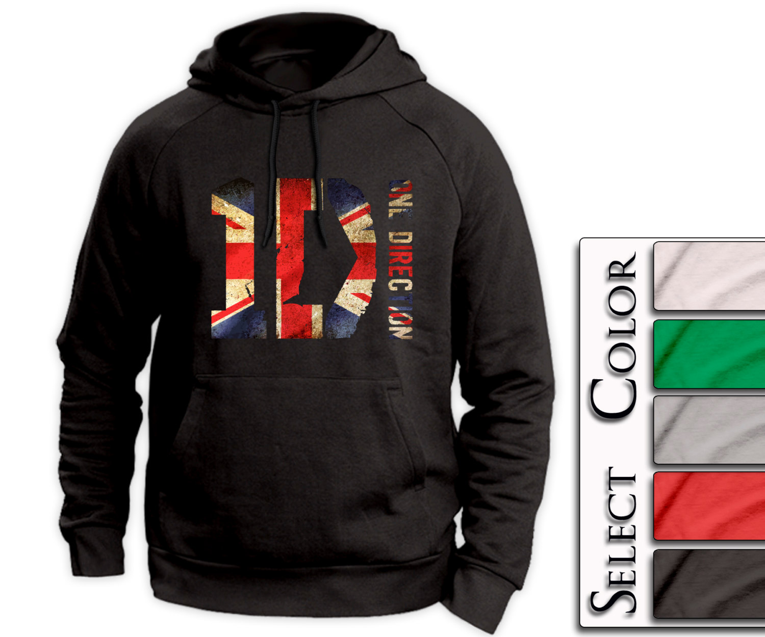 ONE DIRECTION Hoodie - British Print - Tour Niall Liam Zayn Louis Harry 1D tee