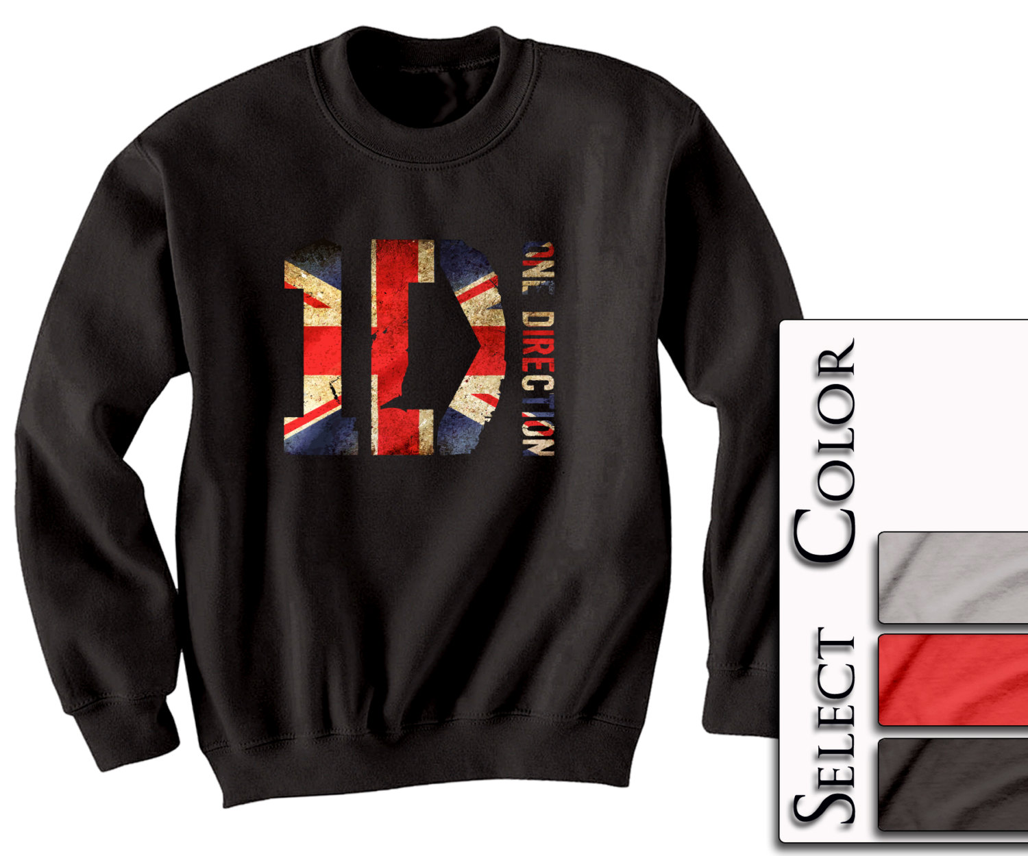 ONE DIRECTION Crewneck - British Print - Tour Niall Liam Zayn Louis Harry 1D tee