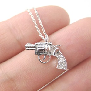Revolver Gun Pistol Shaped Small Charm Necklace in Silver