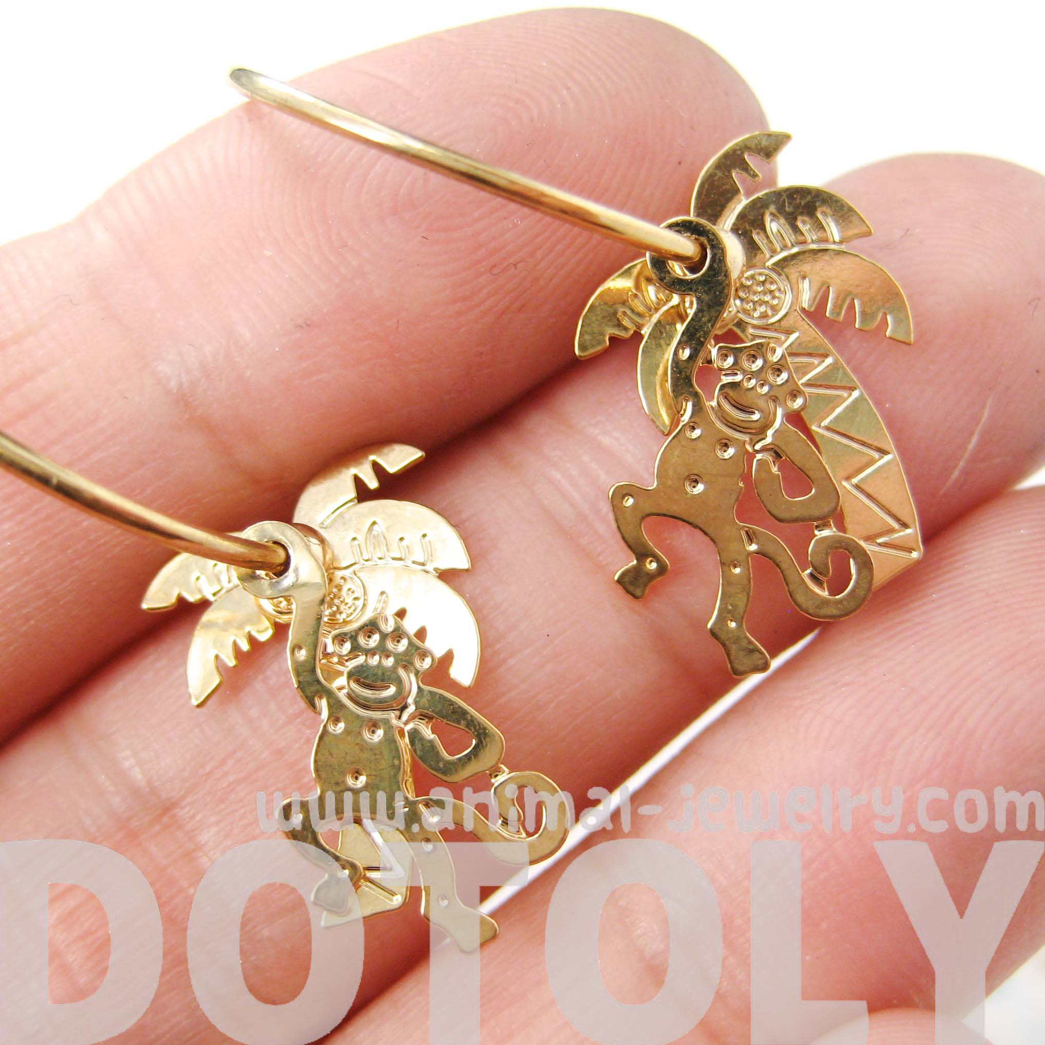 Unique Monkey And Palm Tree Animal Dangle Hoop Earrings In