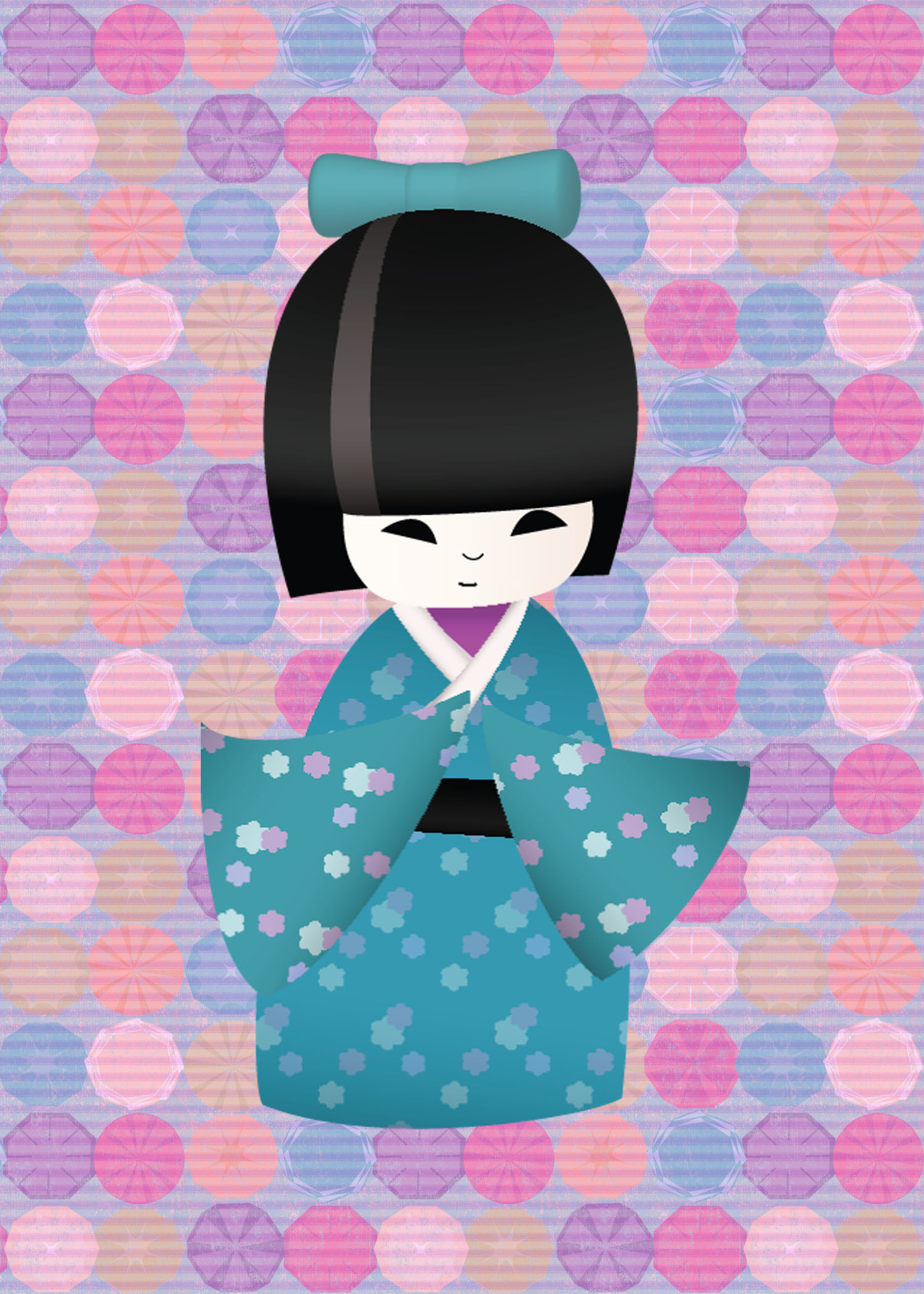 Aqua_kokeshi_print_stripes_and_flowers_original