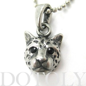 SALE - Leopard Cheetah Jaguar Cat Animal Charm Necklace in Silver
