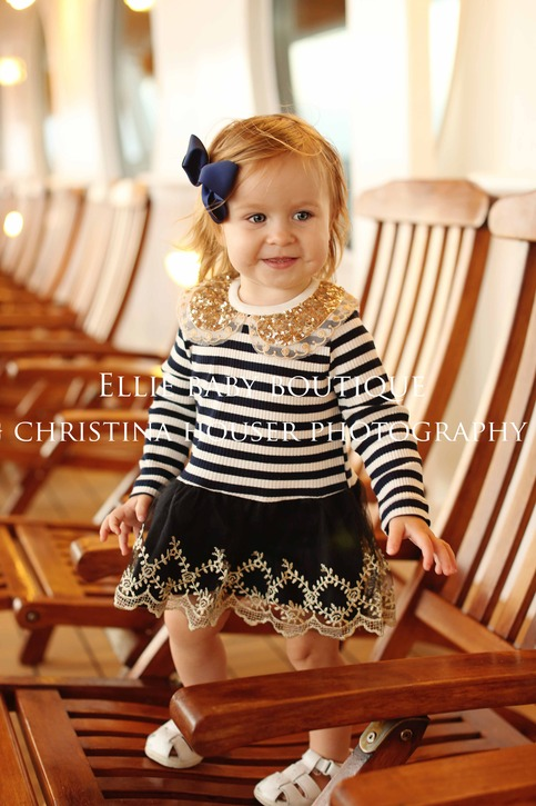 Navy Blue Sequin and Stripes on Storenvy
