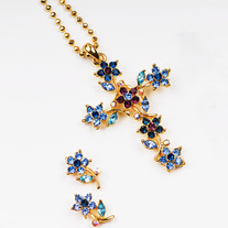 Swarovski Crystal Flower Cross Set