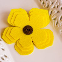 Yellow Felt Brooch with Vintage Button