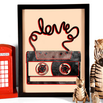 Image of Cassette Tape Love, Art Print, 8 x10