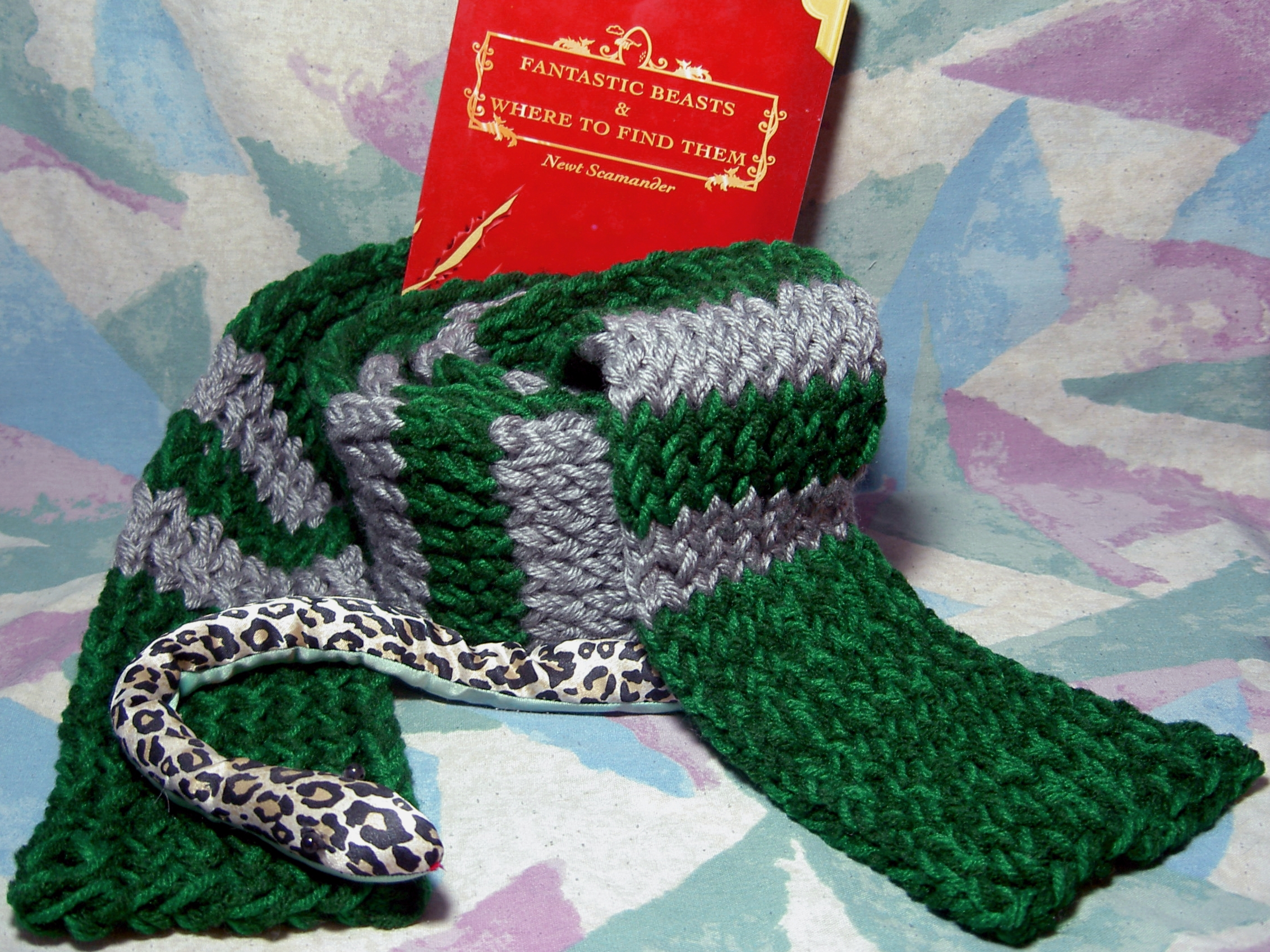 Knitting Pattern For Slytherin Scarf : Harry Potter inspired knitted Slytherin green & silver Scarf on Storenvy