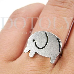 SALE - Simple Elephant Adjustable Animal Ring in Silver