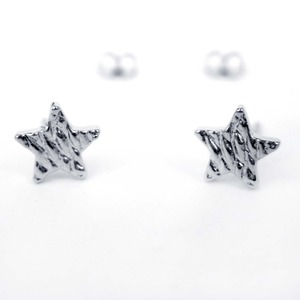 Small Textured Hammered Star Shaped Night Sky Stud Earrings in Silver