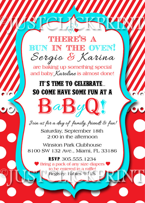 bun in the oven baby shower bbq invitation printable