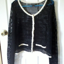 Forever 21+ Black and Creme Crocheted Cardigan 1X