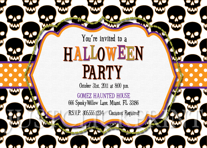 Black Skulls Halloween Party Invitation Printable Just Click – Pizza Party Invites