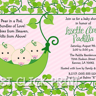 Girls peas in a pod baby shower twins triplets invitation printable girls peas in a pod baby shower twins triplets invitation printable just click print online store powered by storenvy filmwisefo Choice Image