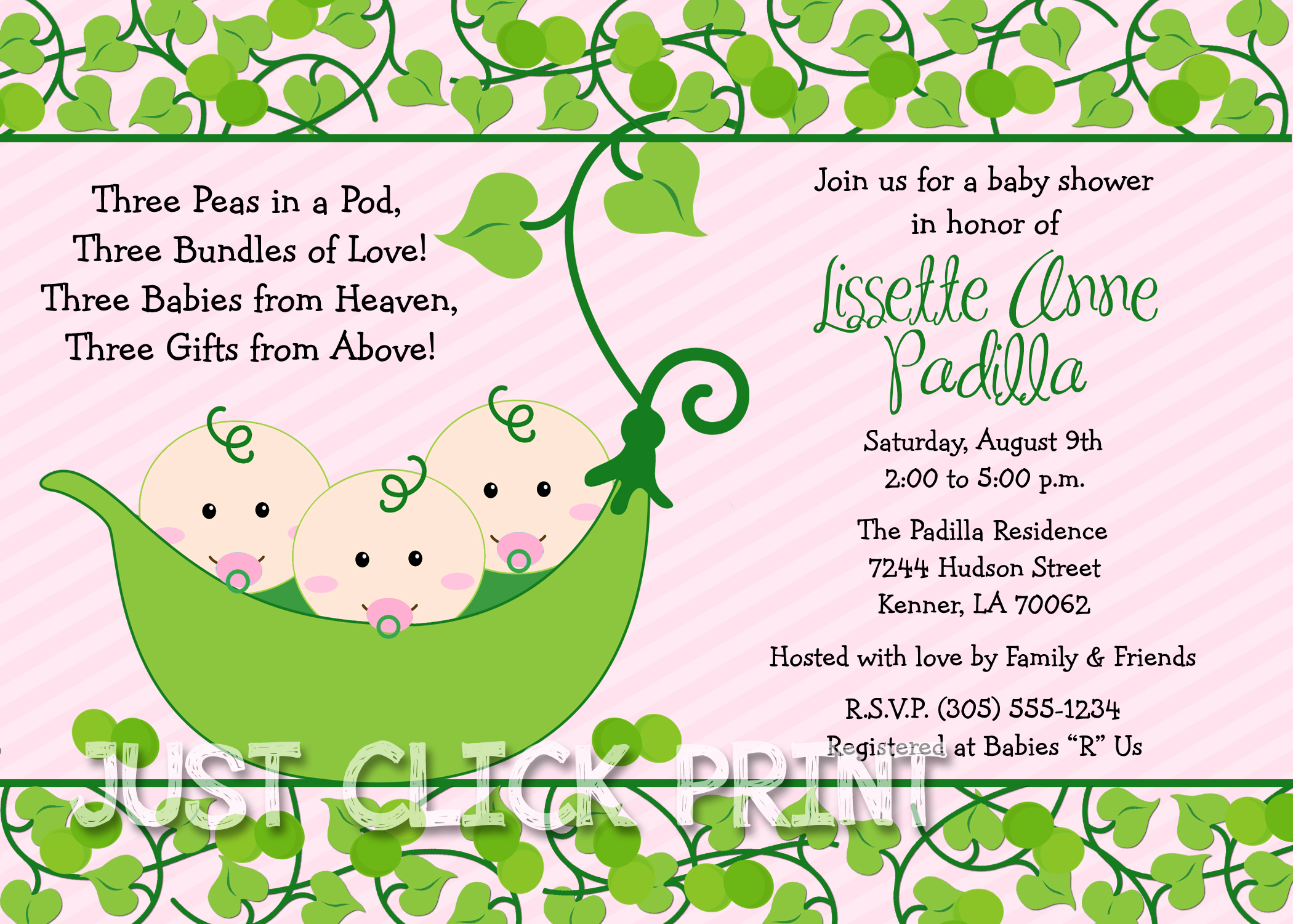 Girls Peas in a Pod Baby Shower Twins Triplets Invitation