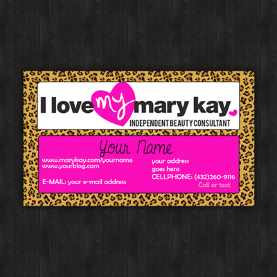 Leopard & pink marykay business cards - set of 100