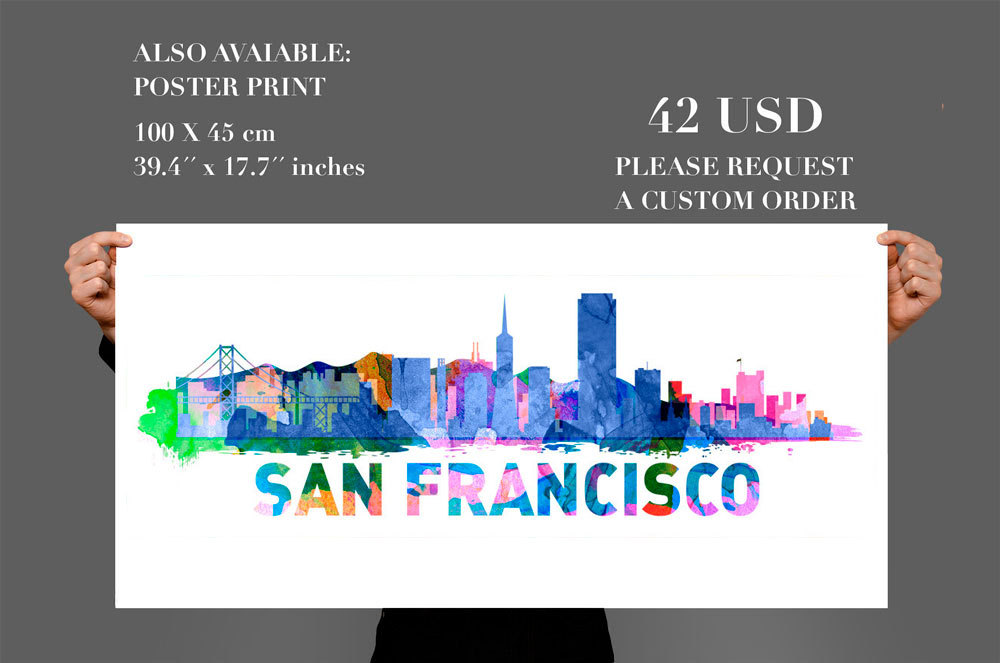 San francisco city skyline watercolor vinyl wall decal thumbnail 3