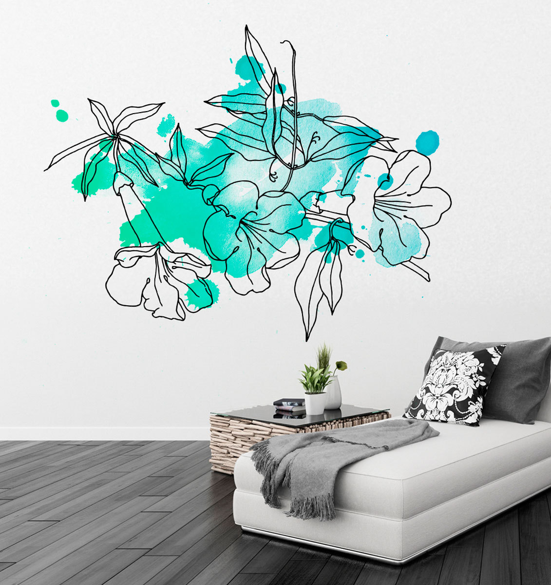 floral watercolor wall paint marine color sticker kids paint blobs wall stickers kids nursery play room home art